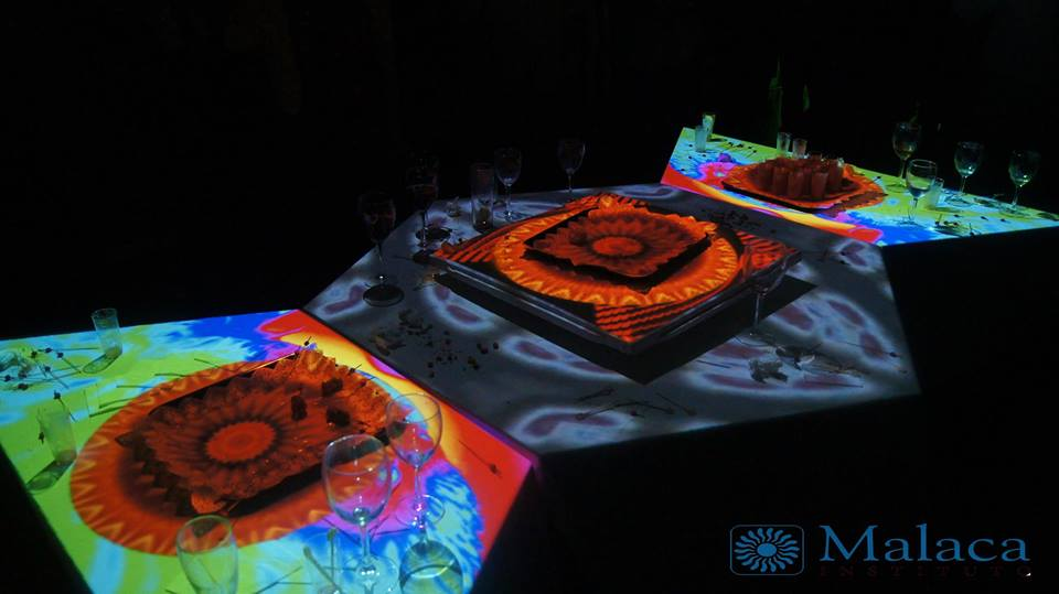 Video Mapping sobre mesas coctel Malaca Institue Flow&Art Málaga Visuales Nidra